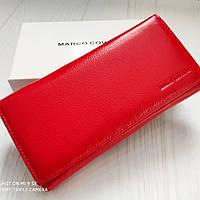 Женский кожаный кошелек на магнитной фиксации красивого красного цвета Marco Coverna