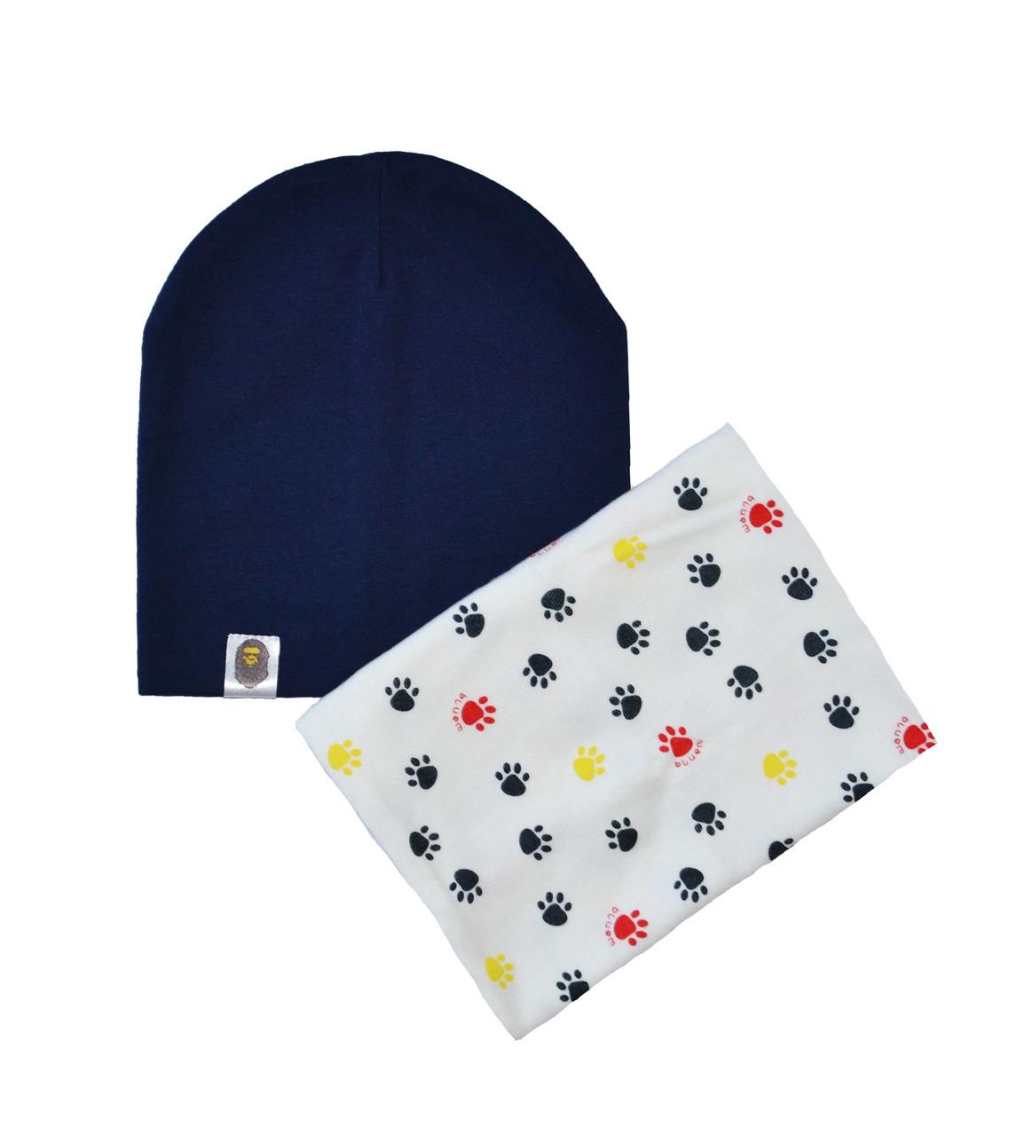 Набор шапка и шарф хомут с принтом следы