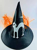 Шляпа Ведьмы, колпак колдуньи с рисунком кота и рыжими волосами аксессуар для карнавала, черный