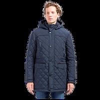 Мужское стеганое пальто зимнее с капюшоном темно-синее Finn Flare W17-21000-600