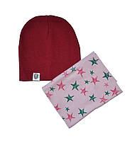 Набор шапка и шарф хомут с узором звезды