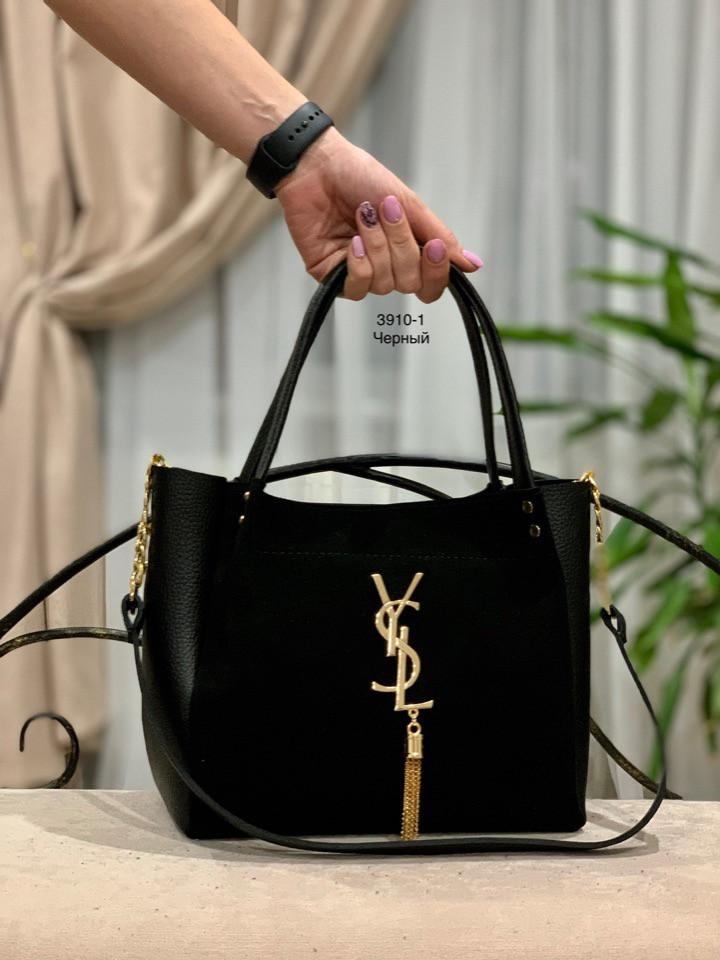 Большая замшевая черная женская сумка на плечо вместительная шоппер натуральная замша+кожзам