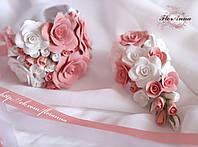 """""""Бело-персиковые розочки"""" комплект свадебных аксессуаров: браслет+бутоньерка, фото 1"""