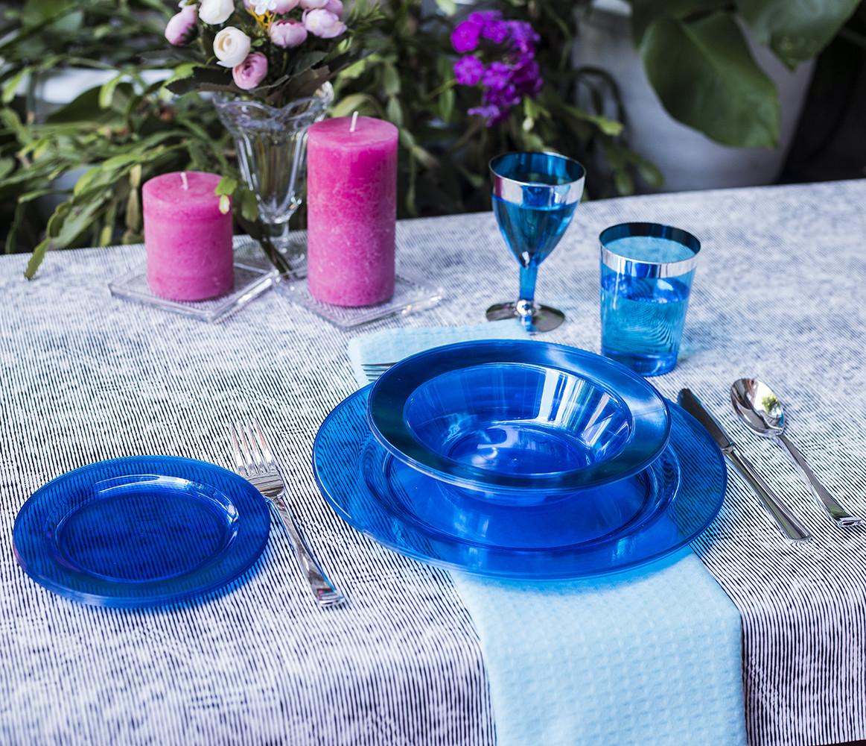 Посуда пластиковая синяя оптом от производителя дляресторанов, кафе, кейтеринга, horeca CFP 90 шт 6 пер
