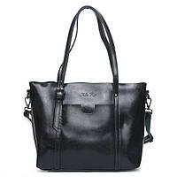 Женская сумка черного цвета из натуральной кожи, классика, фото 1