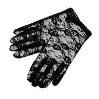 Перчатки черные гипюровые 22 см, аксессуар для карнавала