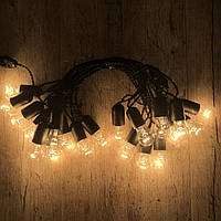 Ретро гирлянда для помещений Alphatrade, 10 метров 20 ламп накаливания, чёрная