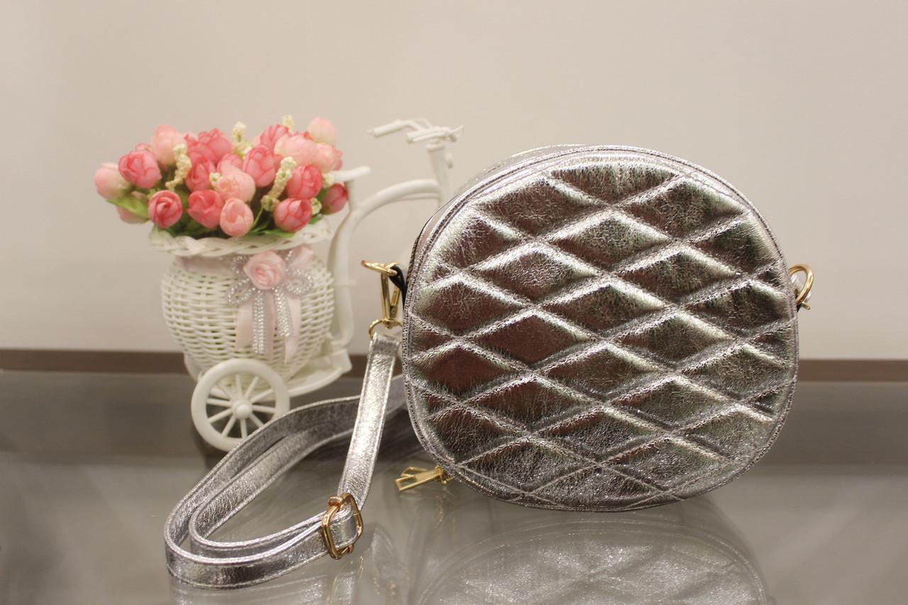 Женская сумка клатч серебристая круглая код 7-361