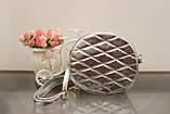 Женская сумка клатч серебристая круглая код 7-361, фото 2