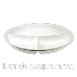 Одноразовая пластиковая тарелка на 3 отсека / 100 шт