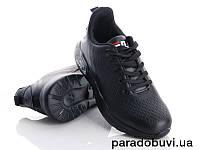 Удобные легкие кроссовки,  цвет черный, качественный заменитель кожи. Реплика FilaРазмер 36 37 38 40