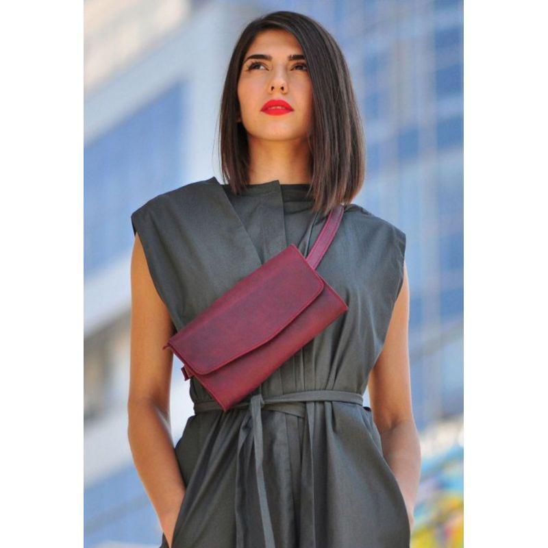 Кожаная женская сумка Элис бордовая