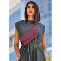 Кожаная женская сумка Элис бордовая, фото 1
