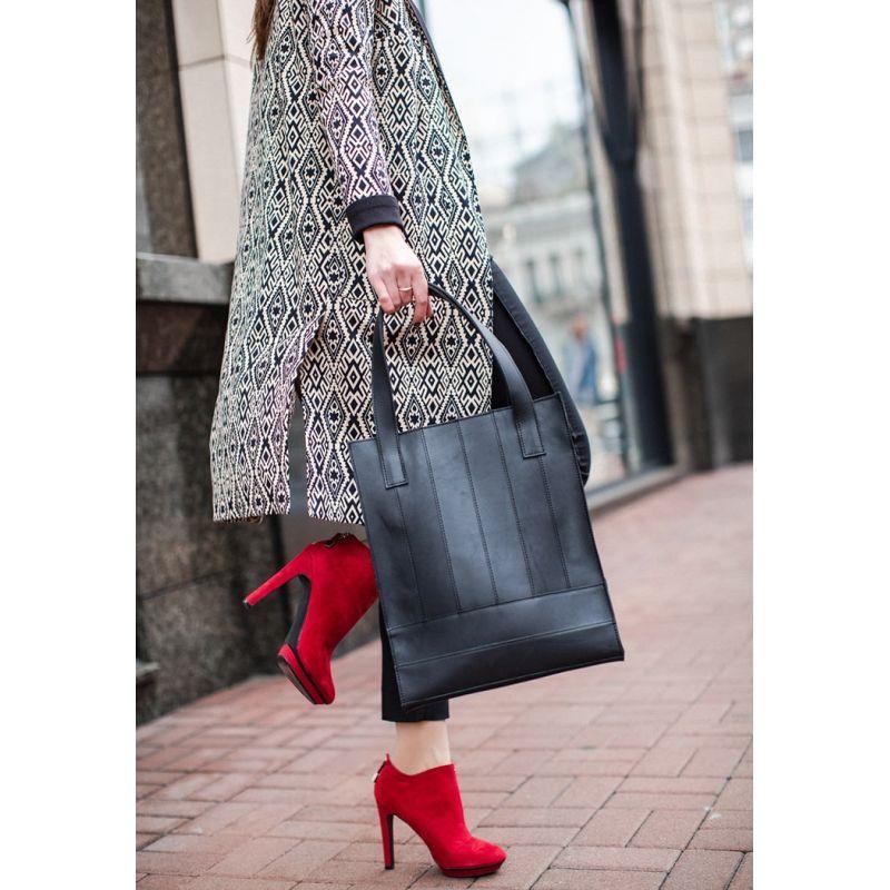 Кожаная женская сумка шоппер Бэтси черная