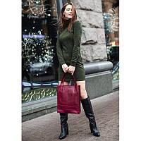 Кожаная женская сумка шоппер Бэтси бордовая, фото 1