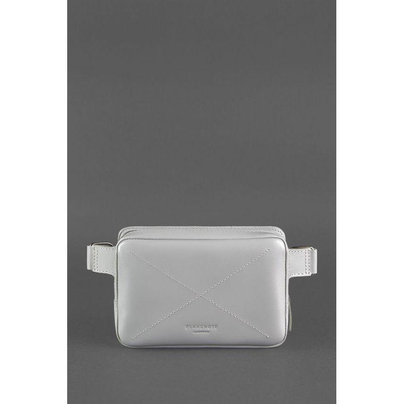 Кожаная женская поясная сумка Dropbag Mini серая