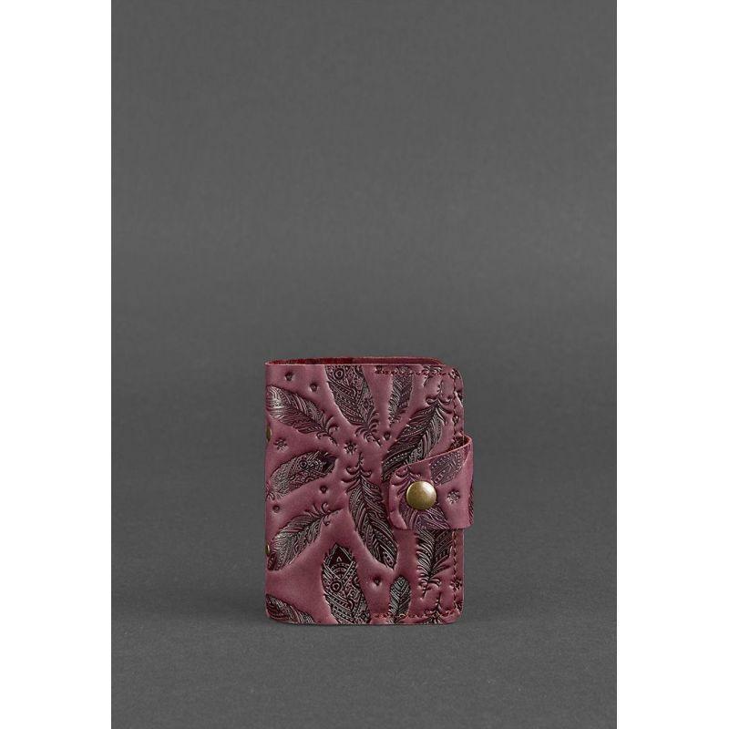 Женский кожаный кард-кейс 7.1 (Книжечка) бордовый с перьями