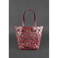 Кожаная плетеная женская сумка Пазл Xl бордовая Krast, фото 1