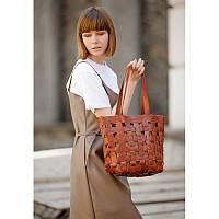 Кожаная плетеная женская сумка Пазл L светло-коричневая Krast, фото 1