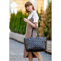 Кожаная плетеная женская сумка Пазл Xl черная Krast, фото 1
