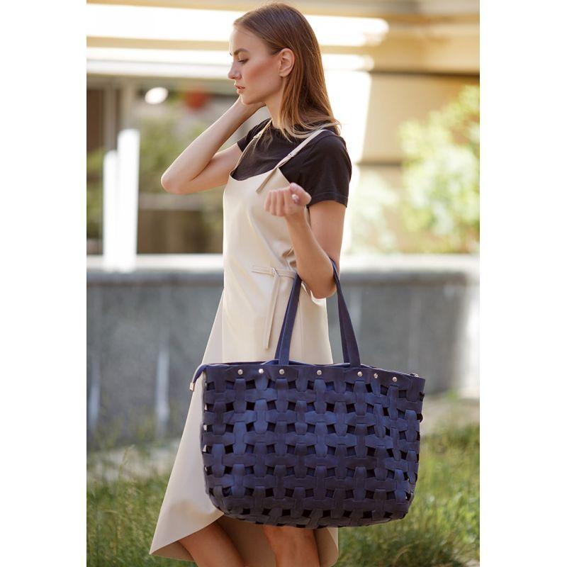 Кожаная плетеная женская сумка Пазл Xl синяя Crazy Horse