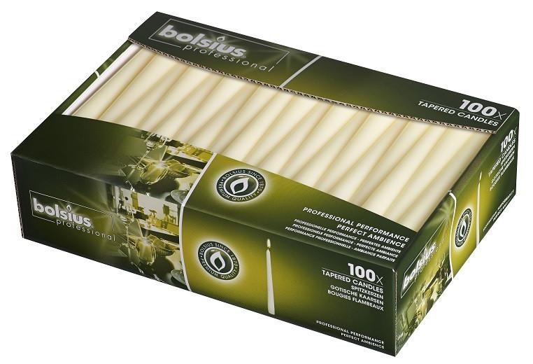 Свеча коническая Bolsius 24.5 см 100 шт слоновая кость (30-100-011Б)