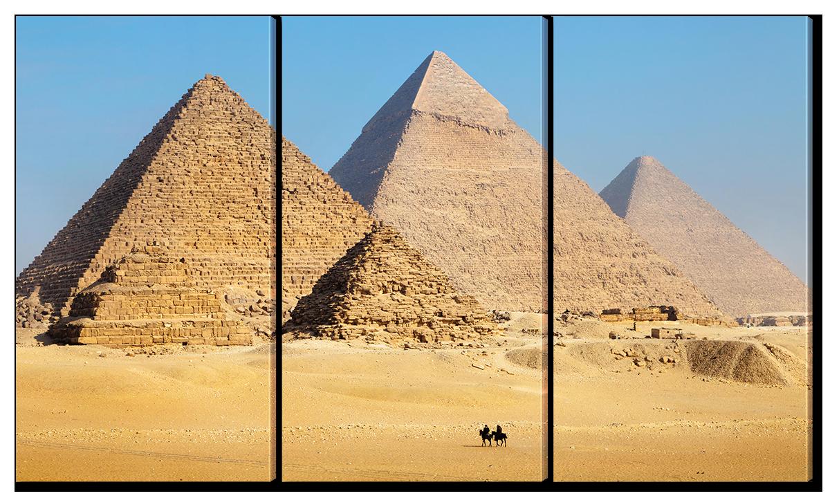 Модульная картина Interno Эко кожа Пирамиды Египта 124x70см (A1548L)