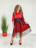 / Размер 42-70 / Женское стильное платье Мода / цвет красный