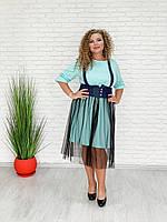 / Размер 42-70 / Женское стильное платье Мода / цвет мята
