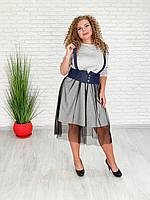 / Размер 42-70 / Женское стильное платье Мода / цвет серый