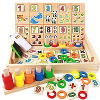 Детский деревянный набор для обучения Математика Цифры цвета