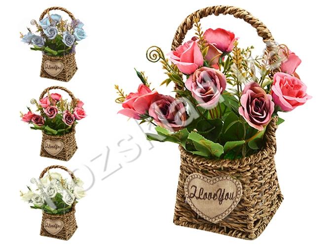 """Композиция из искусственных цветов """"Розы в корзинке"""" 12х21см"""