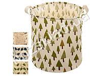 """Корзина для белья/хранения вещей текстильная """"Листья"""" 35x35x42см"""