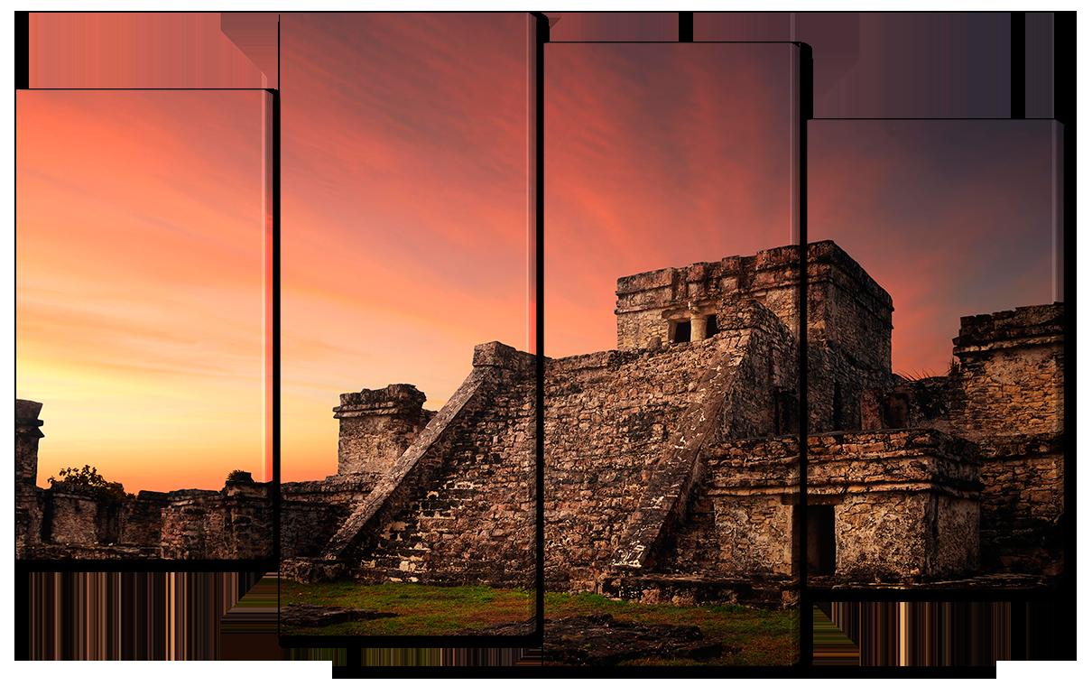 Модульная картина Interno Эко кожа Крепость Майя 126x77см (A1552L)