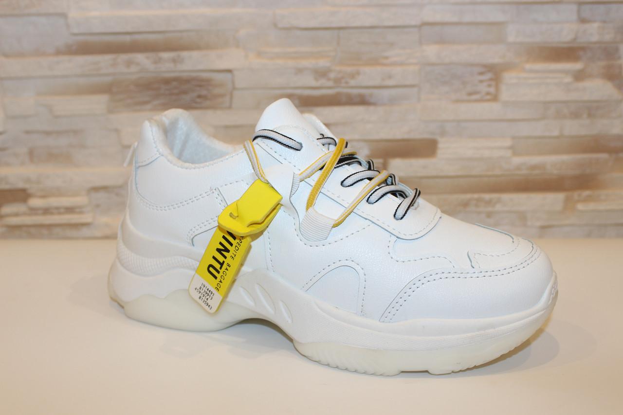 Кроссовки белые с желтыми шнурками Т333