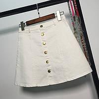 Женская юбка Coardiarn трапеция на пуговицах белая S, фото 1