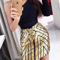 Женская бандажная юбка Coardiarn с пайетками золотистая