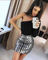 Женская бандажная юбка Coardiarn с пайетками серебристая, фото 1