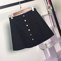 Женская юбка Coardiarn трапеция на пуговицах черная L, фото 1