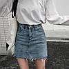 Джинсовая женская юбка Coardiarn трапеция с карманами голубая S
