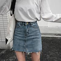 Джинсовая женская юбка Coardiarn трапеция с карманами голубая S, фото 1