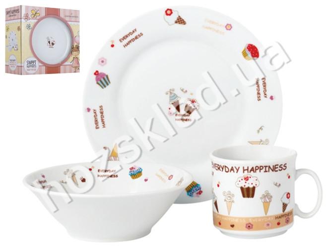 "Набор посуды детской фарфор Limited Edition ""Sweet happiness"" 3 предм (чашка, тарелка, супник) 86560"