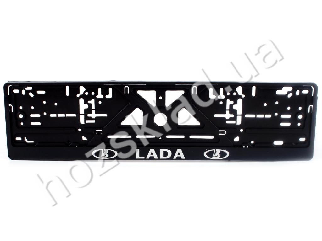 """Рамка номера пластик """"LADA"""" с хром. рельефной надписью 74288"""