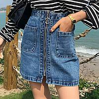 Джинсовая женская юбка трапеция Coardiarn на молнии с карманами голубая S, фото 1