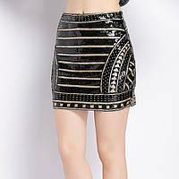 Женская юбка Coardiarn с пайетками и бисером черная, фото 1