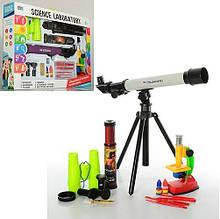 KM7004A Набор игровой   микроскоп, телескоп, бинокль, подзорн.труба, 12цвета, в кор-ке, 55-39-8с