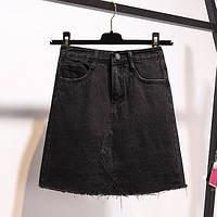 Жіноча джинсова спідниця-трапеція Coardiarn з кишенями чорна S, фото 1
