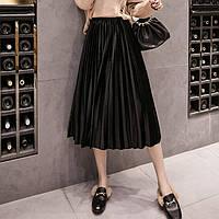 Женская длинная плиссированная бархатная юбка Coardiarn черная, фото 1