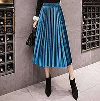 Жіноча довга плісирована оксамитова спідниця Coardiarn блакитна, фото 1