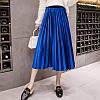 Женская длинная плиссированная бархатная юбка Coardiarn синяя (электрик)